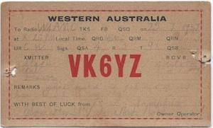 vk6yz qsl card