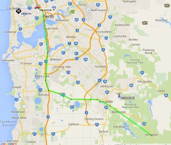 APRS map showing track