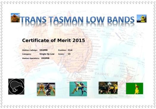 Participation certificate - Trans Tasman